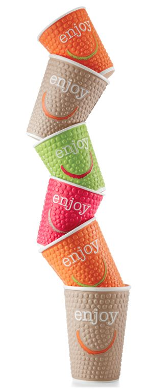 Colourful disposable coffee cups: Enjoy Disposable Hot Cups from Stephensons.com