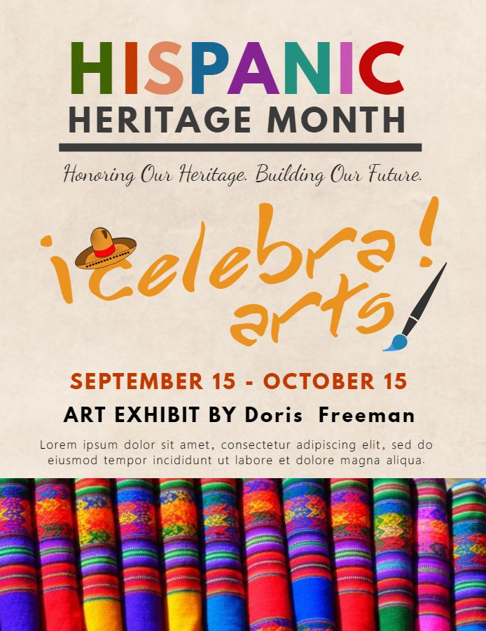 hispanic heritage month art exhibition poster flyer template