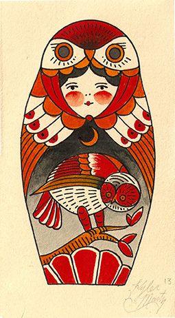 Little Owl matryoshka doll.