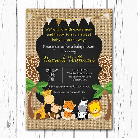 Safari Baby Shower Invitation, Gender Neutral, Burlap Animal, Jungle Baby Shower Invitation, Girl Boy Printable Digital JPEG