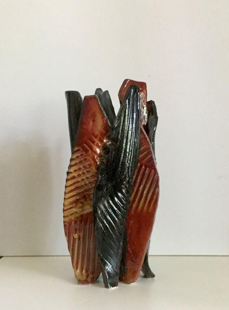 Free form hand built red& black glaze