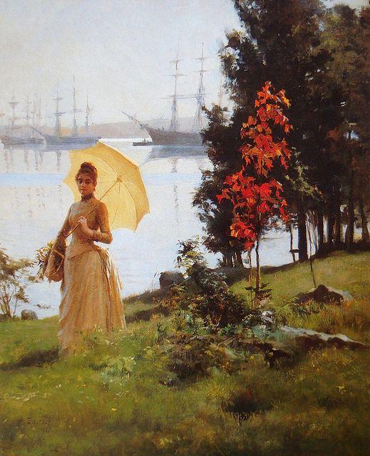Nuori päivänvarjoa pitelevä nainen Albert Edelfelt oil 1887