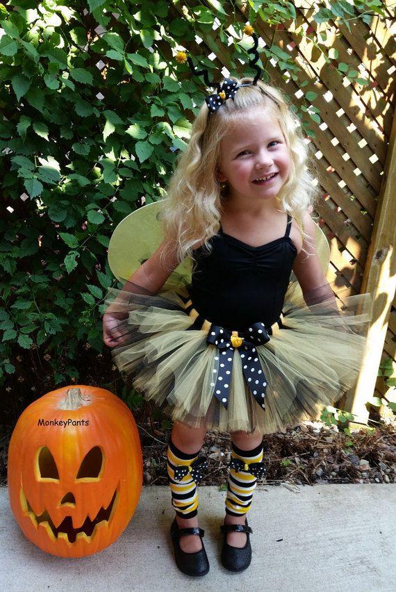 Baby Girl Bumble Bee Costume  - Girls Halloween Tutu and Headband - Toddler Girl Halloween Costume - Black and Yellow Tutu - Photo Prop