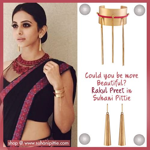 Rakul Preet takes glamour through the ceiling in Edgy Cuffs & Earrings by Suhani Pittie at the MAA Awards. Shop @ bit.ly/sp-rakul #RakulPreet #SuhaniPittie #MAAwards #CelebrityJewelry #CelebrityFashion
