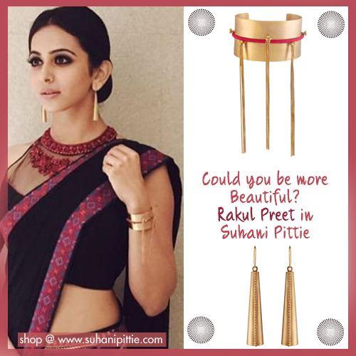 Rakul Preet takes glamour through the ceiling in Edgy Cuffs & Earrings by Suhani Pittie at the MAA Awards. Shop @ bit.ly/sp-rakul #RakulPreet #SuhaniPittie #MAAwards #CelebrityJewelry #CelebrityFashion