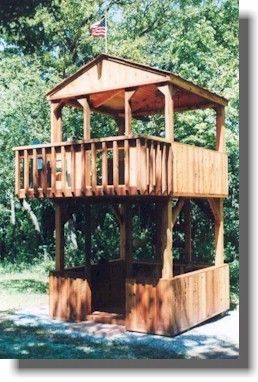 This two story fort playhouse will be loved by young and old.  It also offers flexibility. You can close in the bottom and add doors for a storage shed while the kids have the top as a playhouse. (which is where they want to be anyway!)
