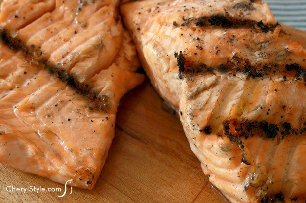 Moist and delicious grilled salmon with garlic butter
