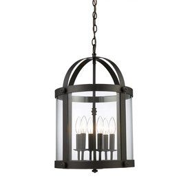 Westmore Lighting Chesapeak 14-In Oiled Bronze Vintage Single Clear Glass Cage Pendant 66282-6