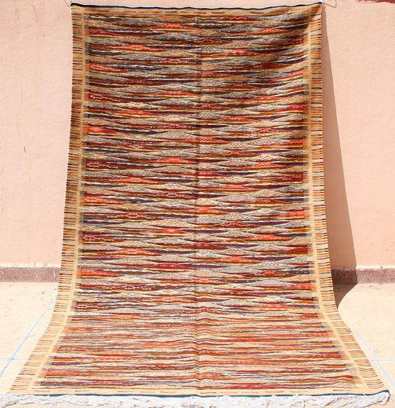 Hell Brauner Teppich Braun Oranger Kelim 150x200 Kelimteppich Handgewebter Flachgewebe