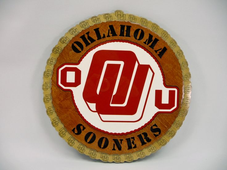 OKLAHOMA SOONERS PLAQUE University Of Oklahoma College Football Fans Laser Cut Color Center Wood Wooden Logo Wall Decor