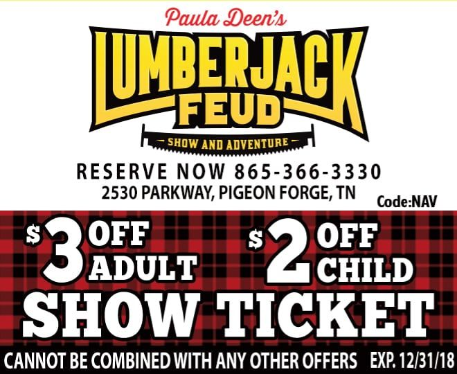 graphic relating to Dixie Stampede Coupons Printable titled Paula Deens Lumberjack Feud $3 Off Grownup -- $2 Off Kid