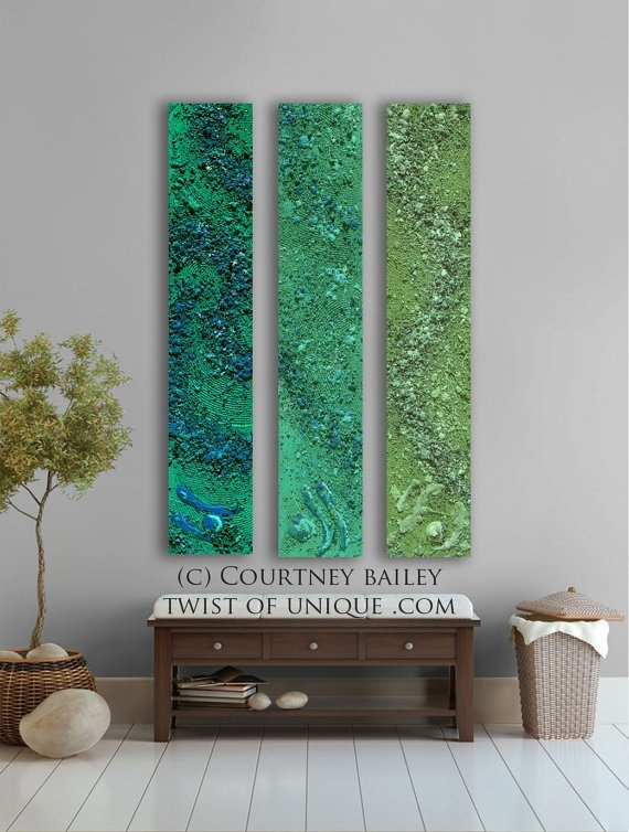 Green Abstract paintings, 3 panel CUSTOM absract Wall Art- Large Modern abstract artwork turquoise, green, blue, bluegreen