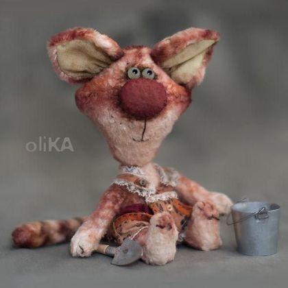 Котька - плюш винтажный,хлопок,опилочки,глазки стеклянные,металлический гранулят