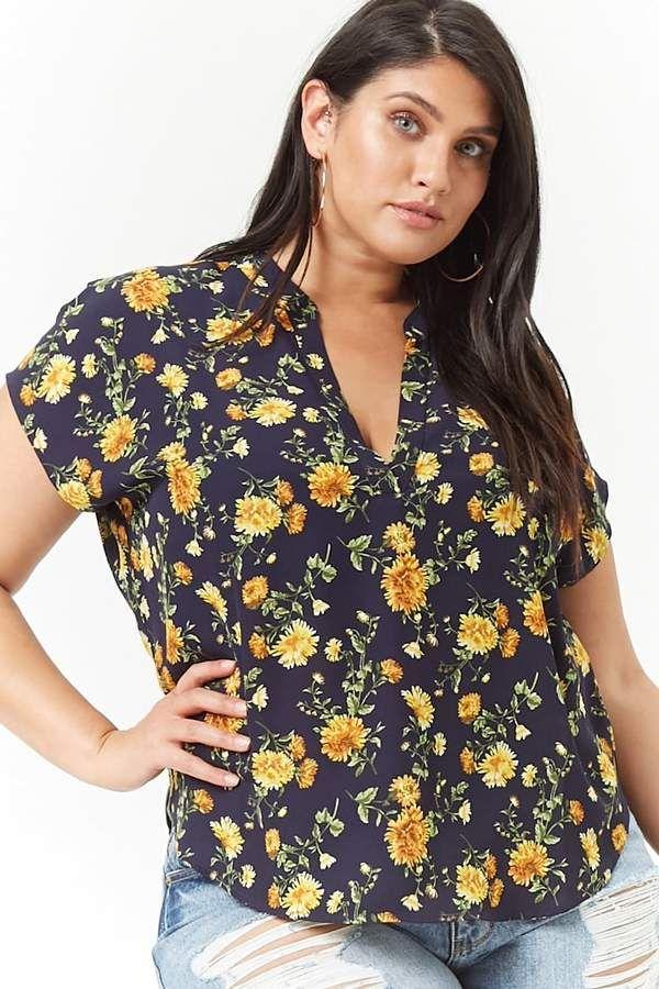 8c85a8a33c8 Plus Size Floral High-Low Top  short dolman dropped