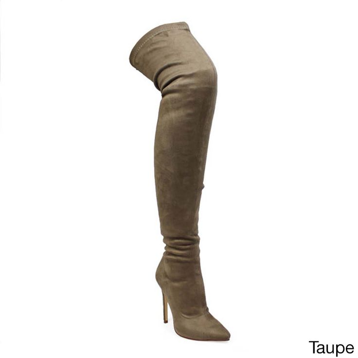 Liliana Gisele Women's Side Zipper Stretchy Stiletto Heel Thigh High Boots