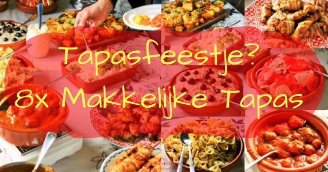 Warm weer dit weekend! Dat schreeuwt om Spaanse tapas. Of je geeft een Tapasfeestje? 8x makkelijke tapas - Een handig overzicht met leuke recepten om jouw tapasfeestje tot een succes te maken - Hartige Spaanse plank - bruchetta - pil pil - albondigas - tortilla - kip met spek - tomaat mozzarella - salades - Mels Feestje en Feest hapje