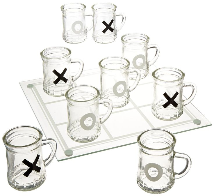 Tic Tac Toe Drinking Game Shot Glass Set - Two Person Drinking Games #saltnpop