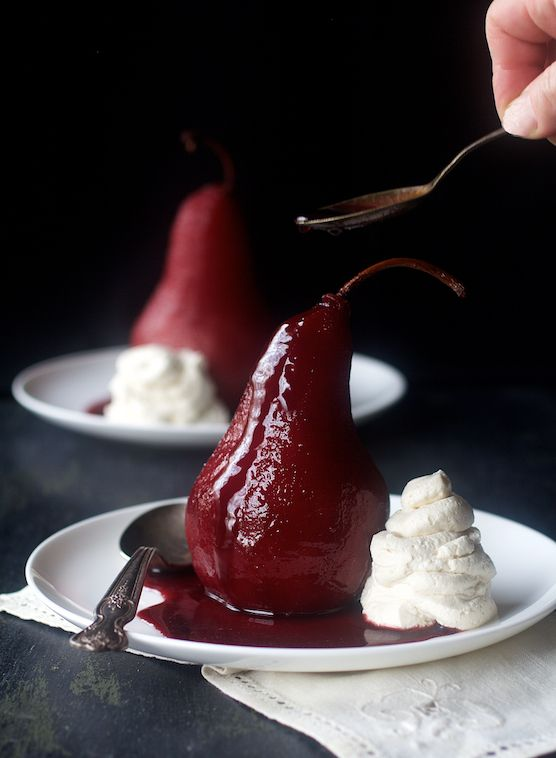 Spiced Red Wine-Poached Pears with Vanilla Mascarpone Whipped Cream