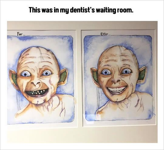 funny dentist waiting room decoration gollum teeth