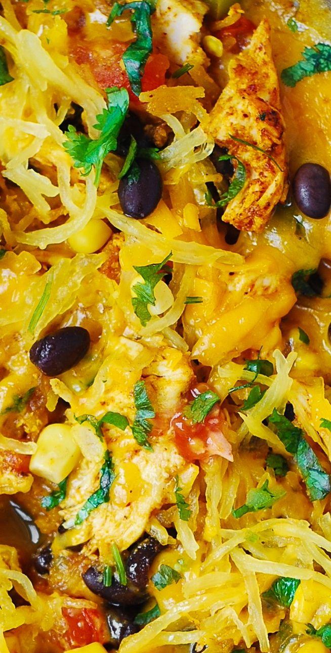 Southwestern Cheddar Chicken & Spaghetti Squash (Thanksgiving, holidays recipes)