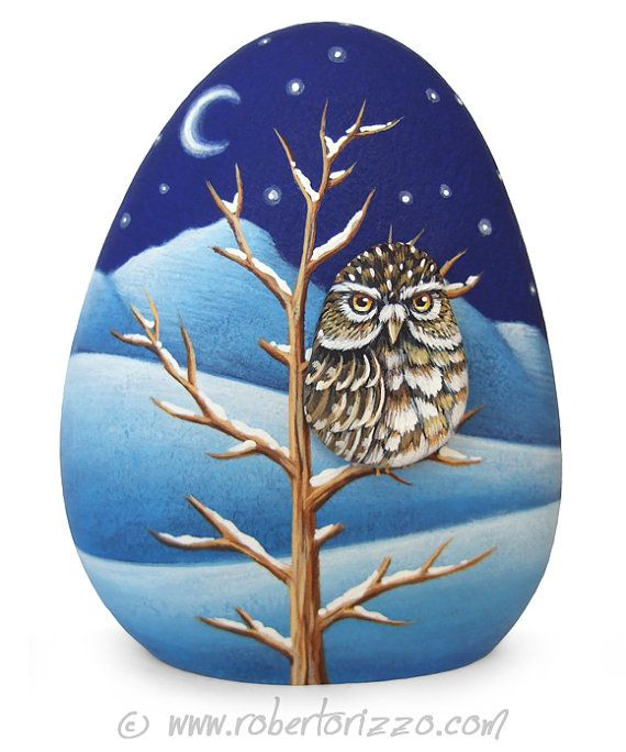 Little Owl Winter Landscape | Two Painted Rocks and an Unique Piece of Art