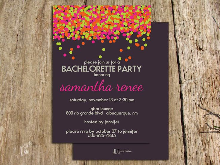 Kate Spade Inspired Neon Confetti Bachelorette Party Invitation - Digital File. $12.00, via Etsy.