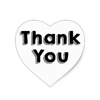 Thank You Black & White Wedding Party Typography Heart Sticker - bridal shower gifts ideas wedding bride