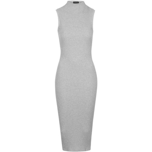 TopShop Funnel Neck Midi Dress found on Polyvore featuring dresses, vestido, grey, body con dress, gray midi dress, gray bodycon dress, mid calf dresses and topshop