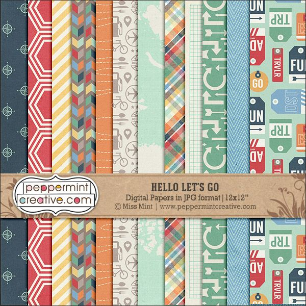 Hello let 39 s go papers travel vacation themed digital for Themed printer paper