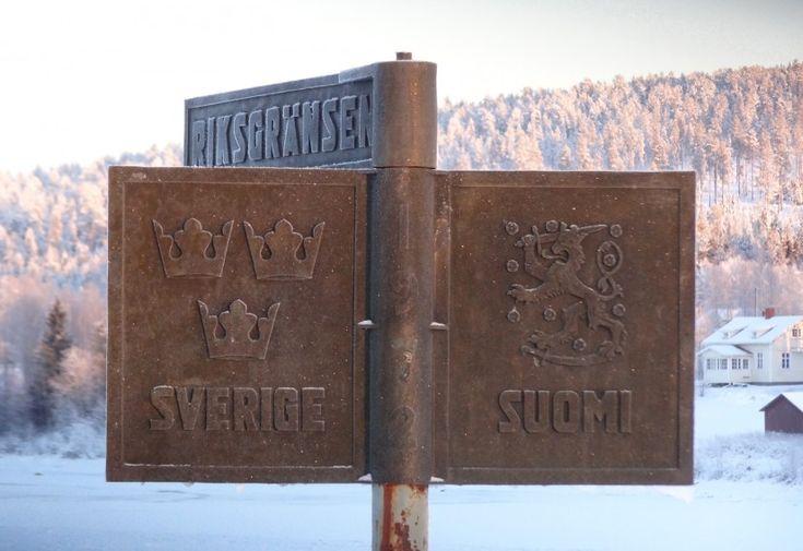 Suomen ja Ruotsin valtakunnanraja Torniojoella Pellossa