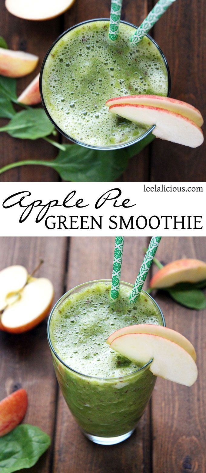 Apple Pie Green Smoothie - this delicious smoothie is full of healthy greens, while tasting like a delicious apple pie #smoothie #green #applepie