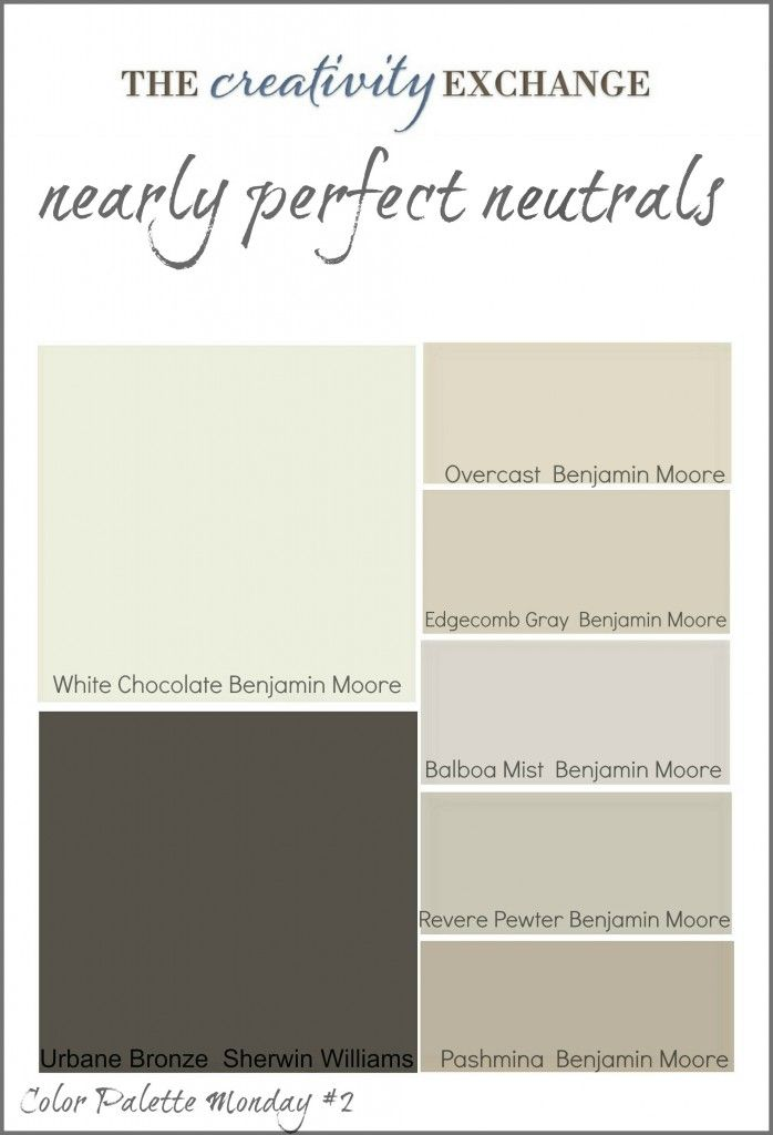 Collection of great neutral paint colors used frequently by builders and designers (Color Palette Monday #2) The Creativity Exchange