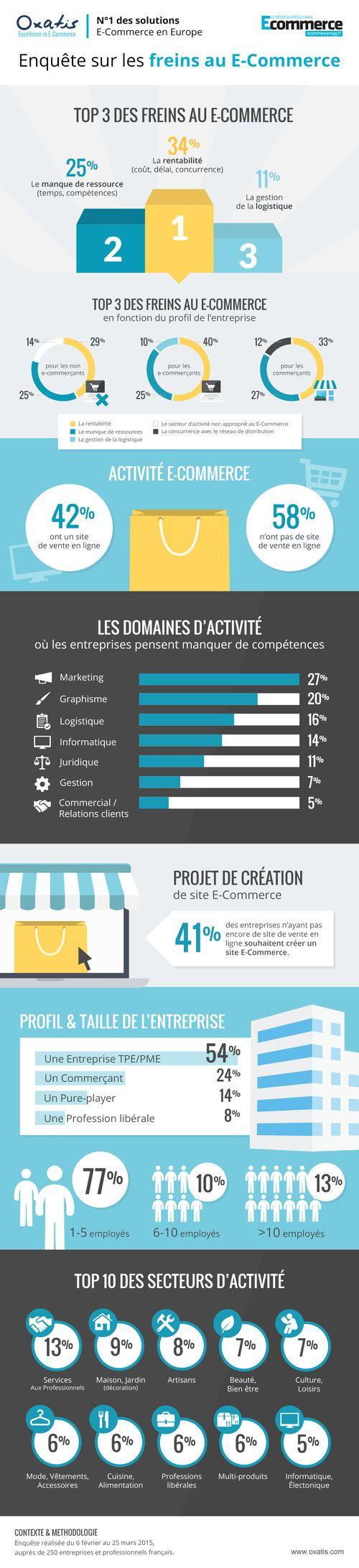 #ecommerce :  Découvrez les freins au e-commerce en une infographie. Rentabilité, logistique, les craintes sont nombreuses mais 54% des TPE souhaitent avoir un ecommerce.