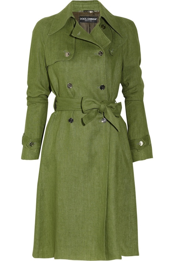 Dolce Gabbana linen trench coat paired with Dolce Gabbana Brushed-jacquard skirt. theoutnet.com