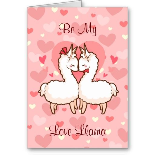 An adorable, cute love llama greetings card for Valentine's Day to go with the pillow that I posted earlier! Be My Love Llama?