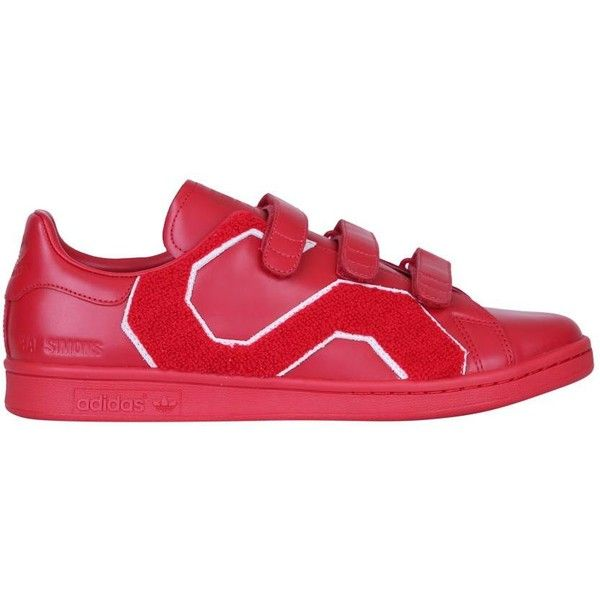 Adidas by Raf Simons Stan Smith comfort leather sneakers ($392) ❤ liked on Polyvore featuring shoes, sneakers, red, red leather shoes, velcro strap shoes, red shoes, leather sneakers and velcro sneakers