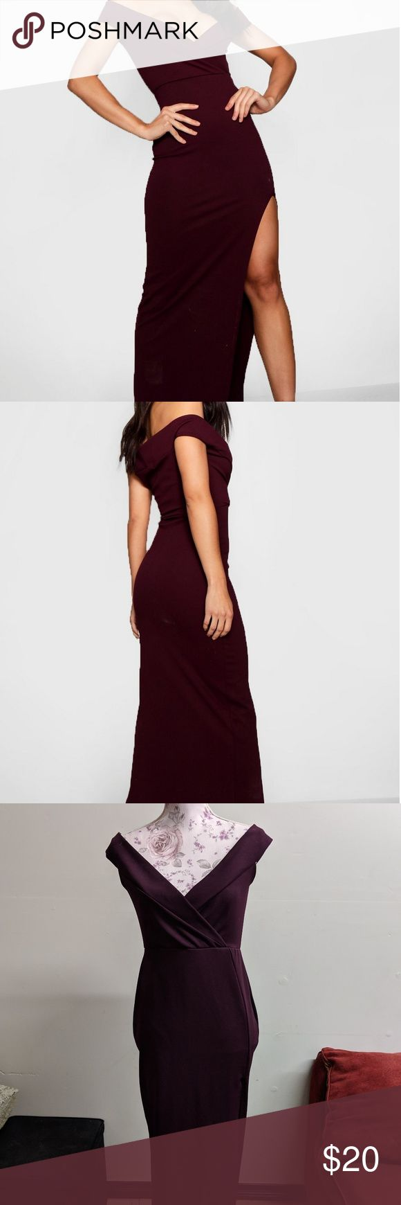 Wrap Top Off Shoulder Maxi Dress Off shoulder floor length maxi dress with left side slit. Color is called berry. It looks more plum than burgundy or ...