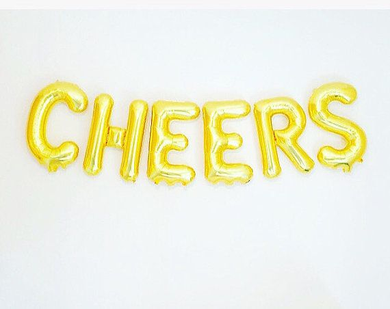 CHEERS Gold Balloons, Cheers Banner, Cheers Party Theme,Gold Cheers Balloons,Promotion Balloons,Gold Cheers Decorations,Cheers Decor, Cheers