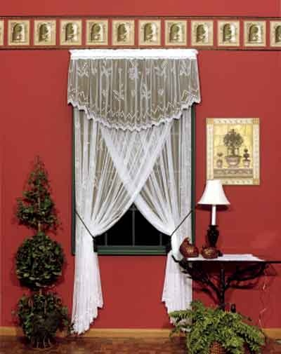 """Remember what used to be called a """"Priscilla"""" treatment using crisscrossed lace panels?  This innovative treatment uses a lace valance overlay over a solid color fabric and we sell twice as many lace curtain window treatments."""