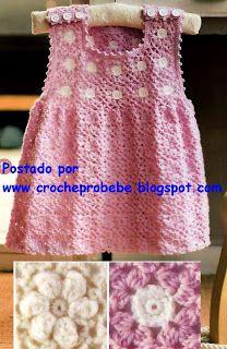 Croche pro Bebe: Vestidinho Rosa, uno gracinha !!!