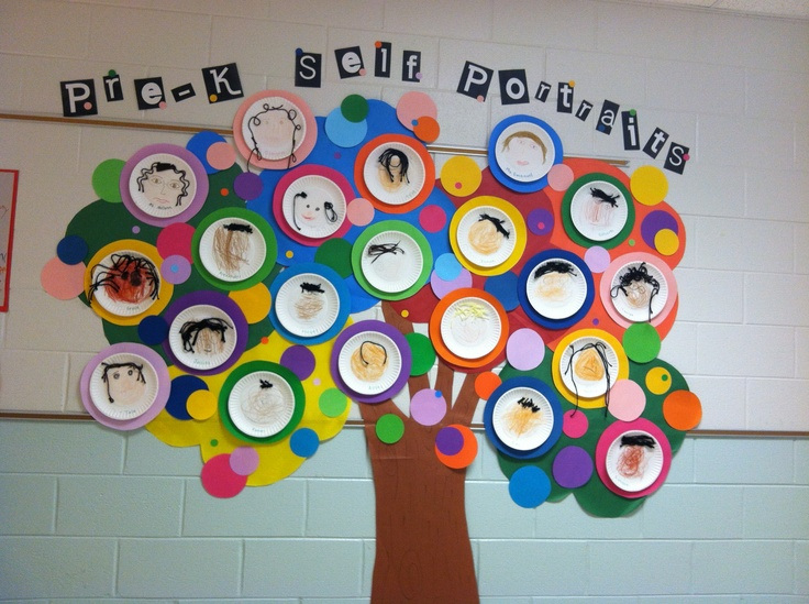 "Pre-K self portraits during ""all about me"" unit"