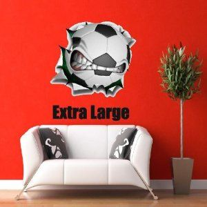 """36"""" Soccer mean ball logo Wall Graphic Sticker Color Decal Home Game Kids Boys Girls Room Garage Den Man Cave Decor"""