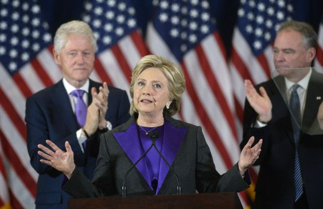 Hilary Clinton for her concession speech she wore the color purple heart. She wore Ralph Lauran collection a grey pant suit with a purple accents. An trend forecaster said the color was signifies unity.  Ashlie Roswall  11/10/16