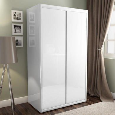 Lexi White High Gloss Double Wardrobe With Gloss Doors