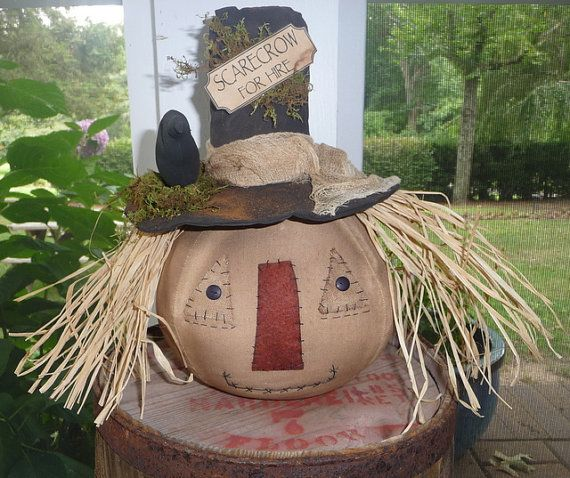 Primitive Scarecrow Halloween decoration Fall tuck by ahlcoopedup, $22.95