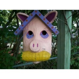 And the bird said this place is a pig stye,,,,,Wrong, its only a pig head bird house...oink, oink