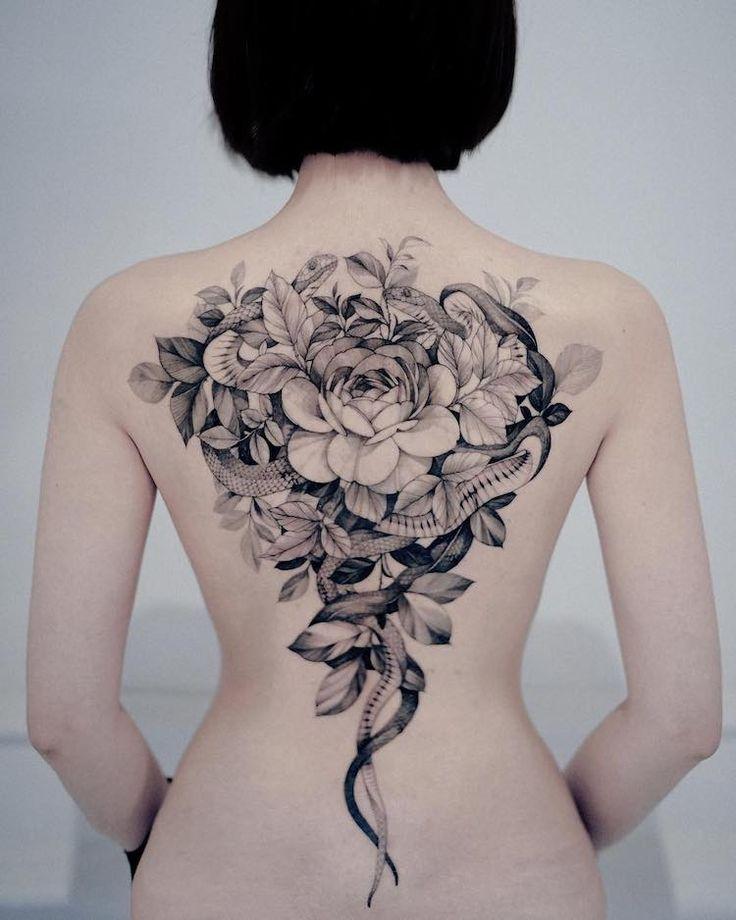 Tatuagens delicadas inspiradas na natureza deste tatuador sul-coreano   Girl tattoos, Floral back tattoos, Back tattoo women
