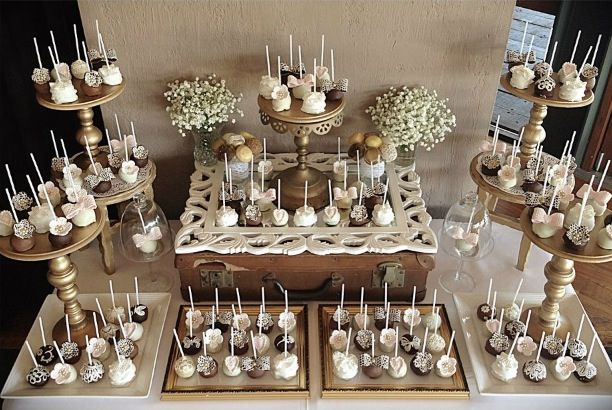 Pretty Vintage cake pop display for engagement/wedding by Niknaks Sweetest Treats