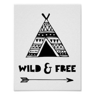 Childrens Nursery Wild And Free Poster