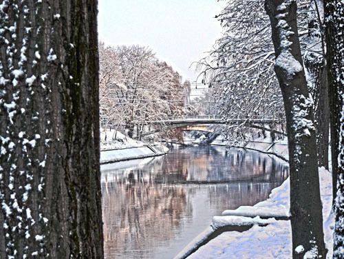 Winter - Begakanal, Brücke zwischen den Parks, Temeswar